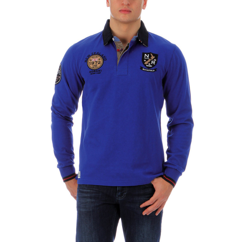 Blue outdoor rugby polo shirt