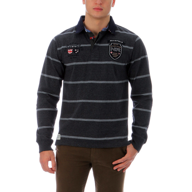 Striped outdoor rugby polo shirt