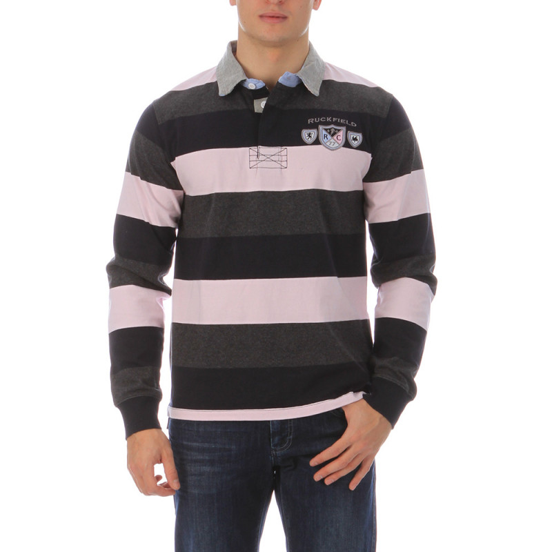 Triple-striped rugby polo