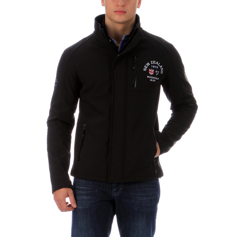 Black rugby softshell jacket