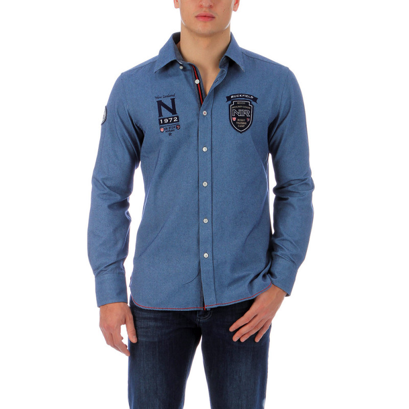 Blue outdoor denim shirt