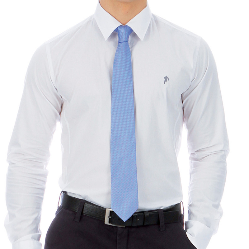 Blue silk tie with a pattern