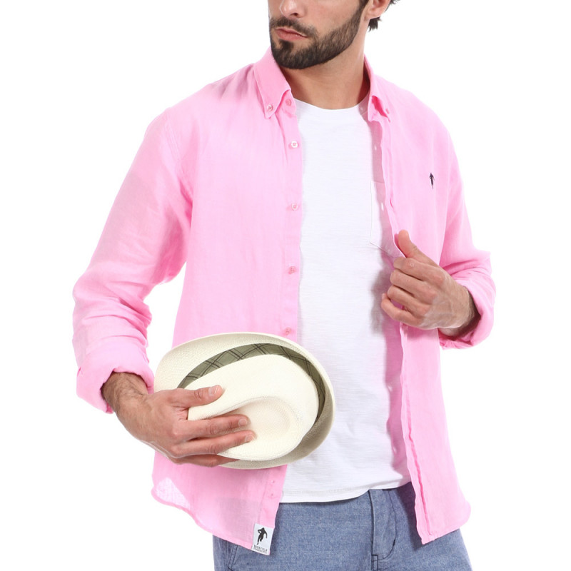 Chemise 100% lin rose Rugby