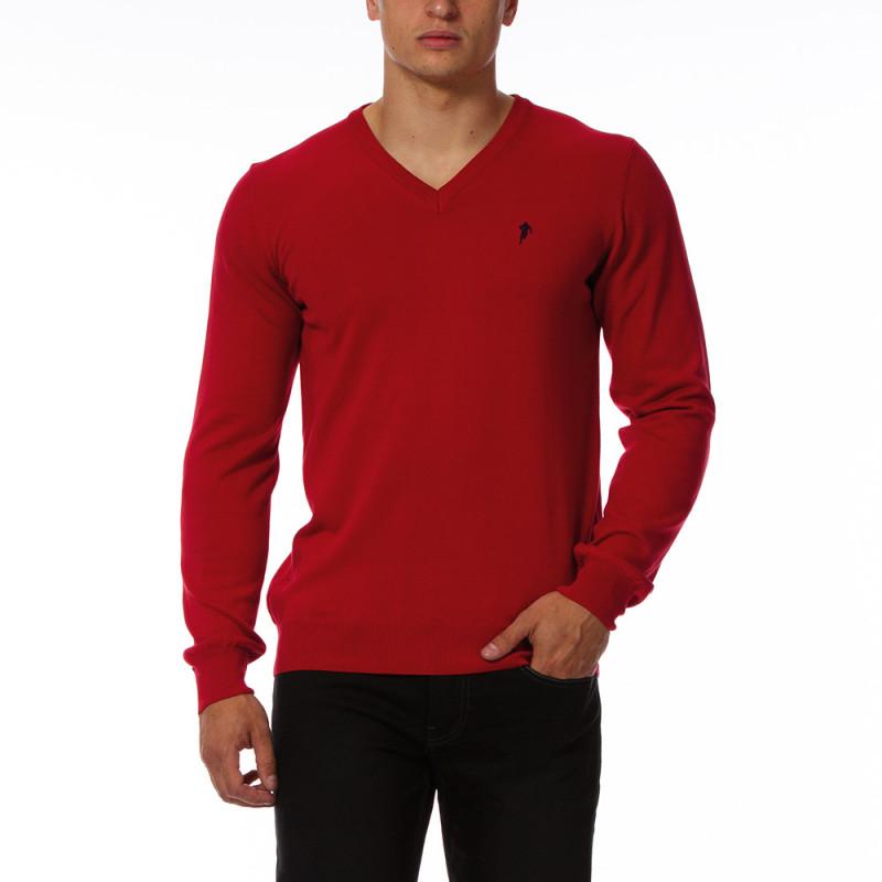 Red V-neck pullover