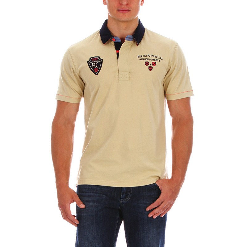 Beige rugby polo shirt