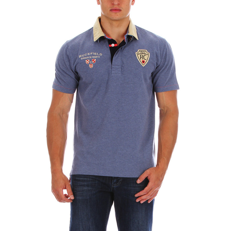 Double collar blue polo shirt