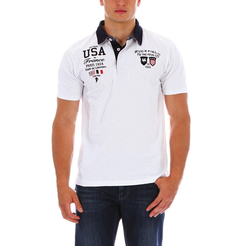White USA rugby polo shirt