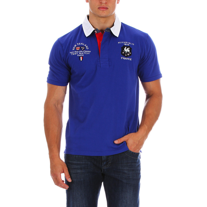 Blue France rugby polo shirt