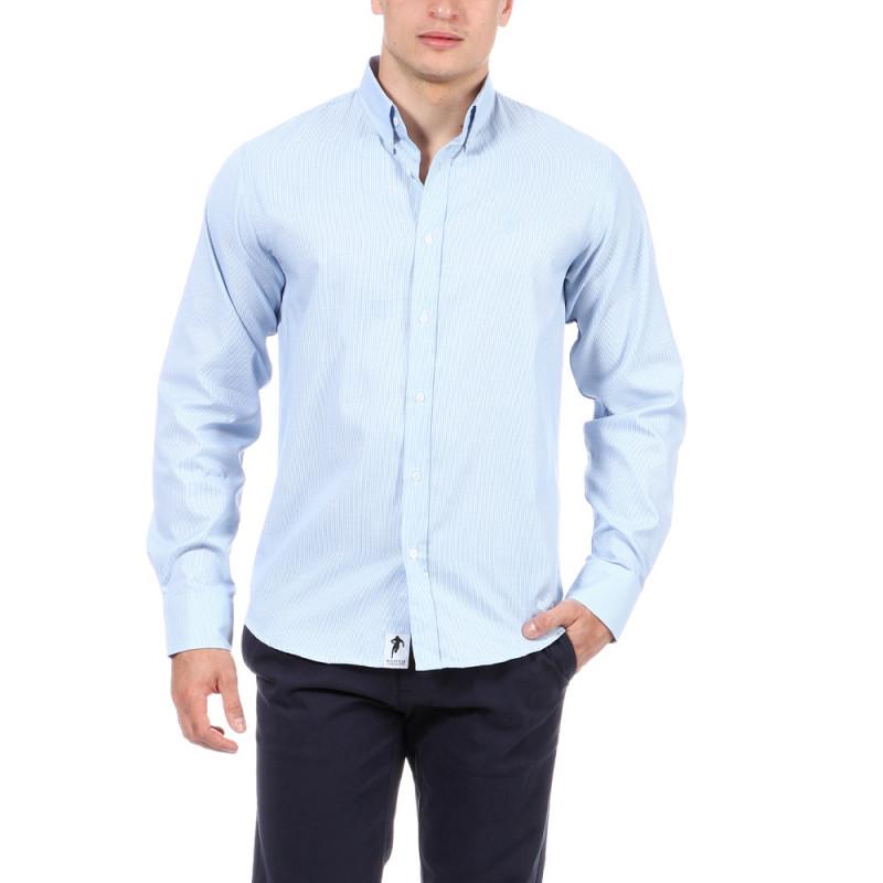 Chemise bleu clair à motifs rugby