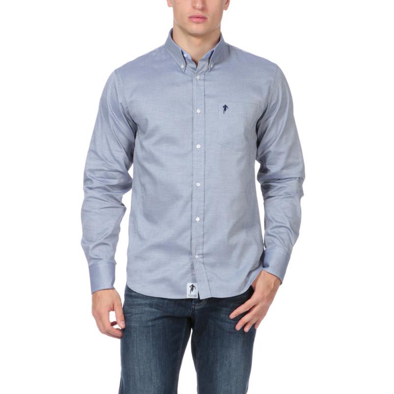 Chemise bleue avec poche Rugby