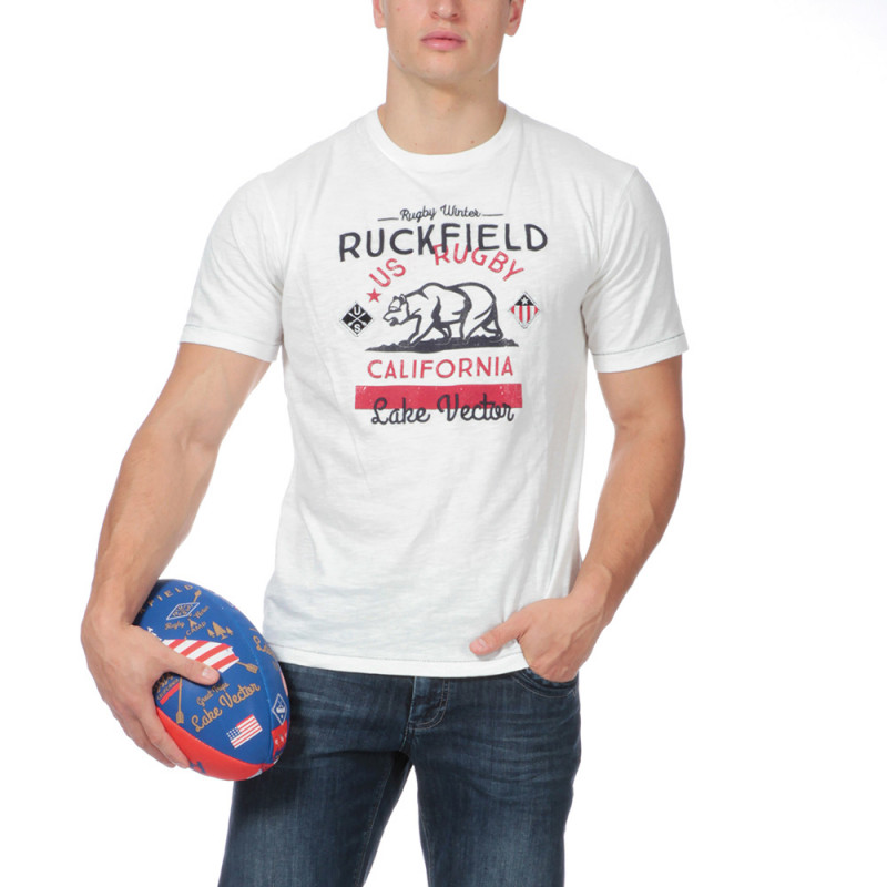 T-shirt blanc aventure rugby
