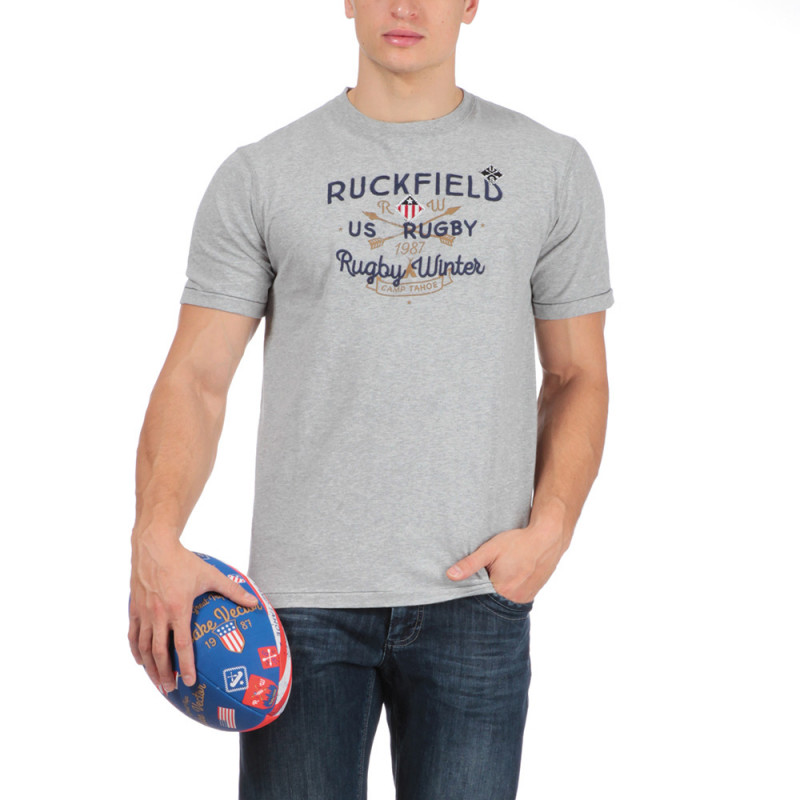T-shirt gris chiné Rugby aventure