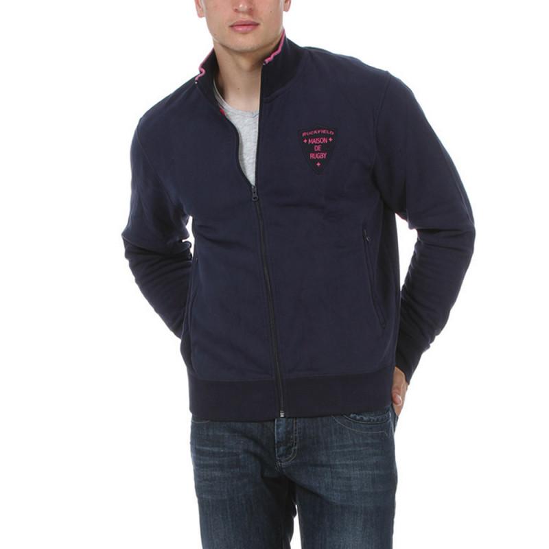 Dark Blue Rugby Sweatshirt with Zip Fastening
