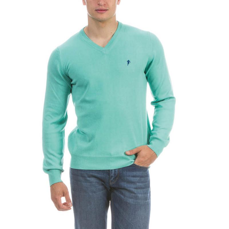 Green V neck Pullover