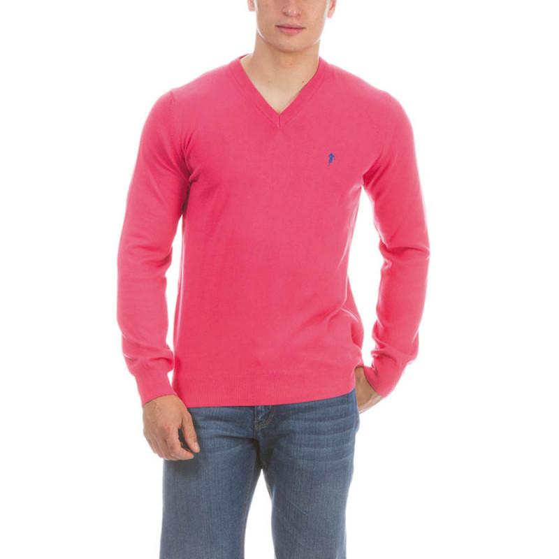 Fuschia V neck Pullover