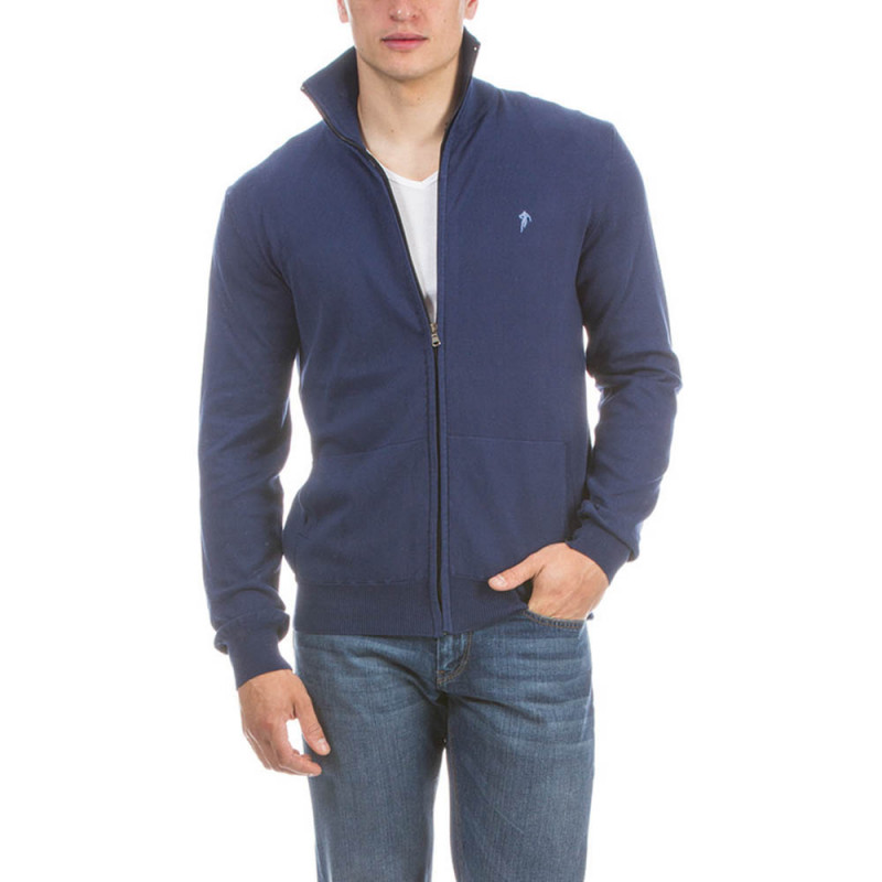 Blue Rugby Pullover with zip fastening