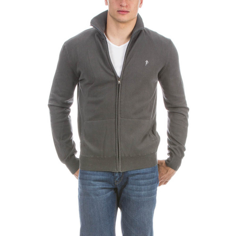 Grey Rugby Pullover with Zip Fastening
