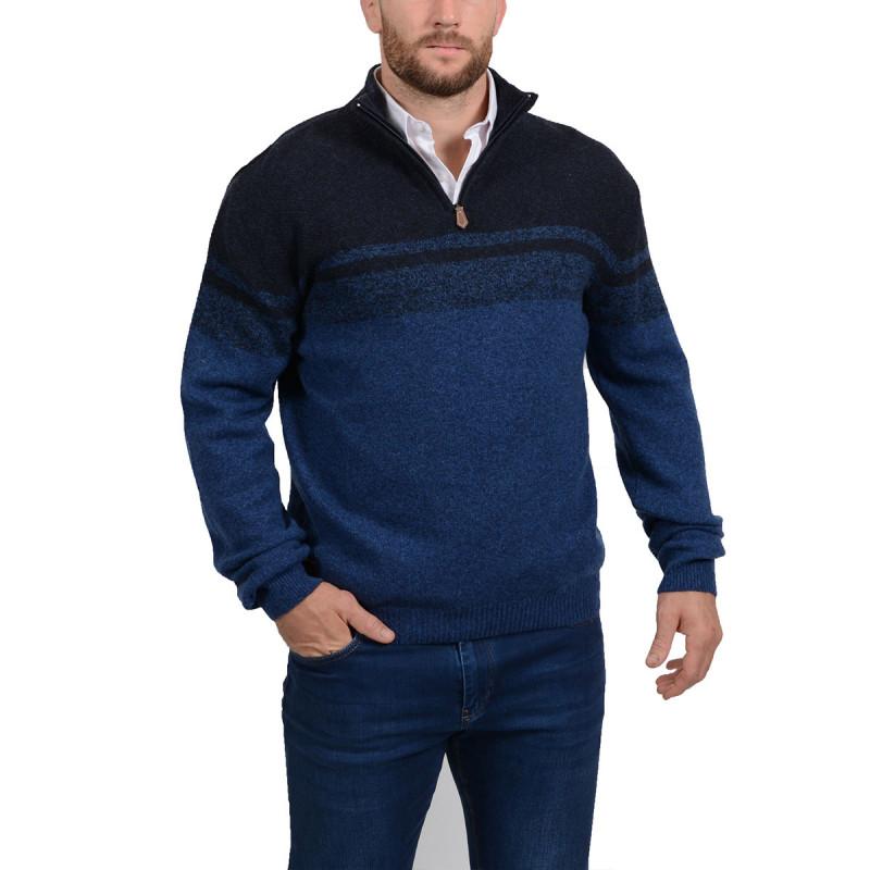 Pull col zippé en laine bleu