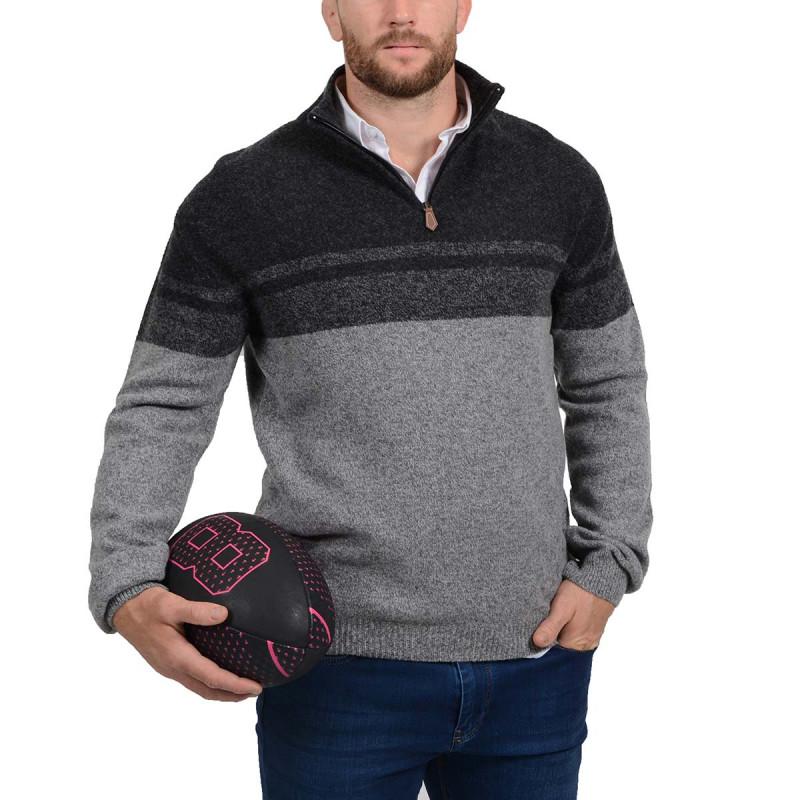Pull col zippé en laine gris