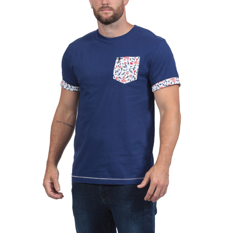 Navy Blue Floral Rugby T-shirt