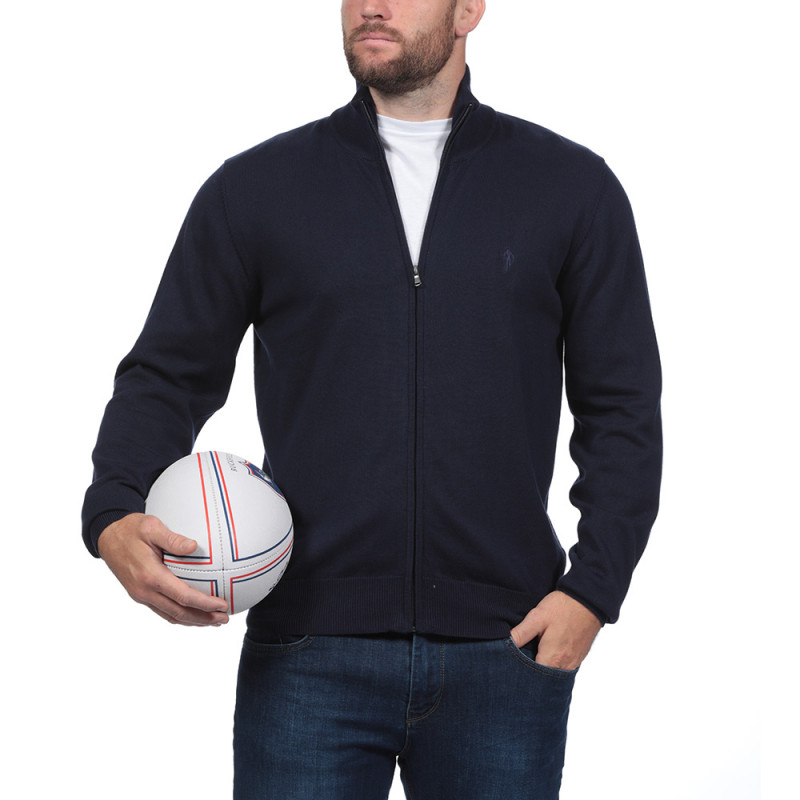 Rugby Essentiel Navy Blue Zip Through Cardigan