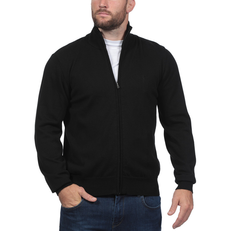 Rugby Essentiel Black Zip Through Cardigan