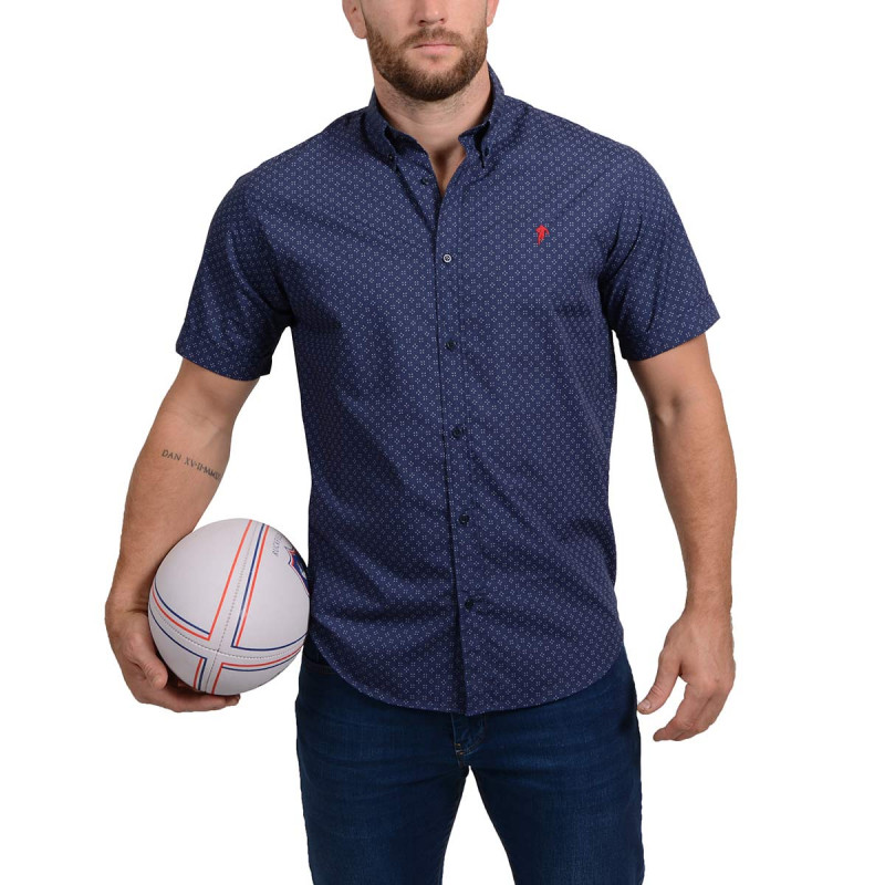 Short-sleeved Blue Rugby Shirt