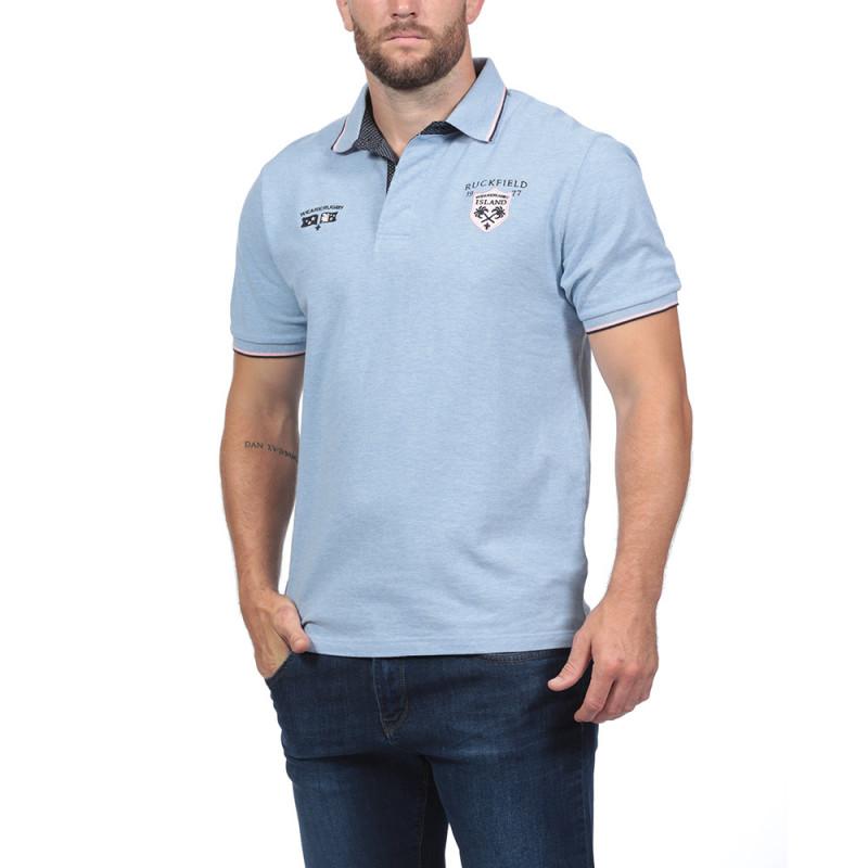 Island Short-Sleeved Blue Polo Shirt