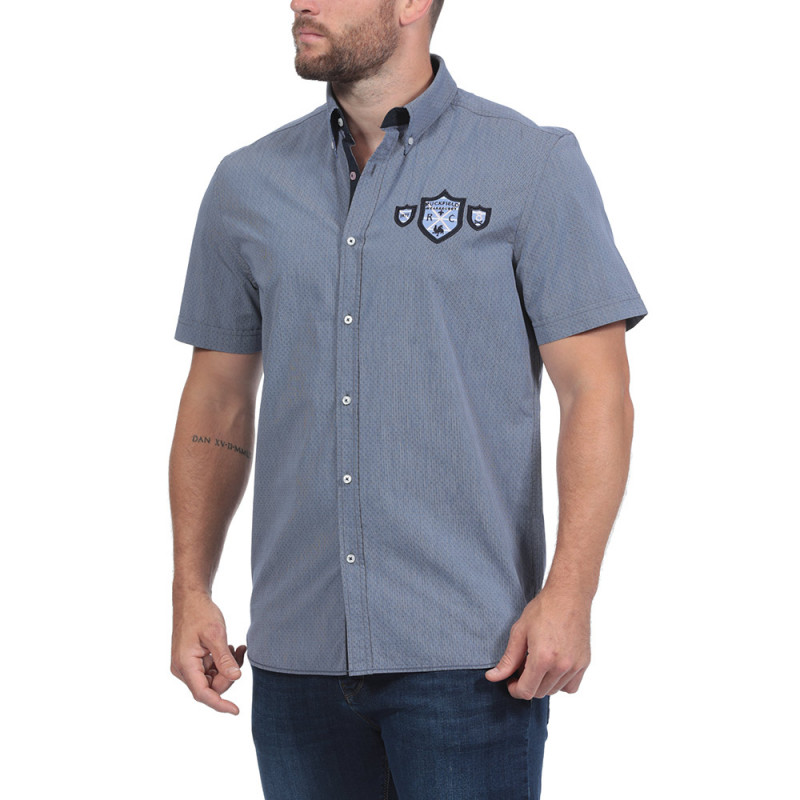 Navy Blue Short-Sleeved Summer Shirt