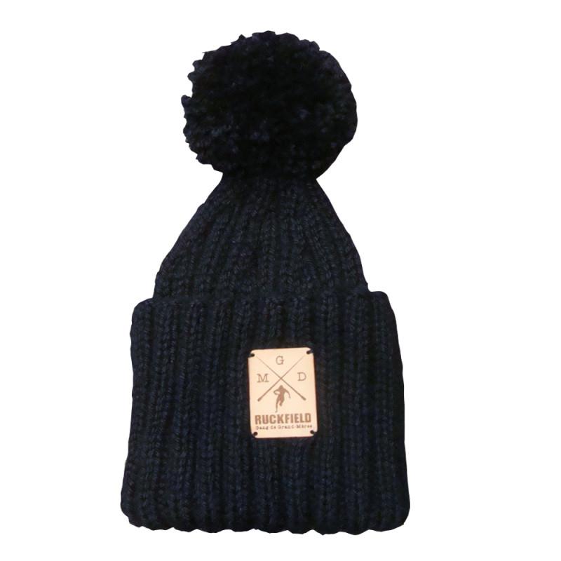 Bonnet a pompon en laine marine