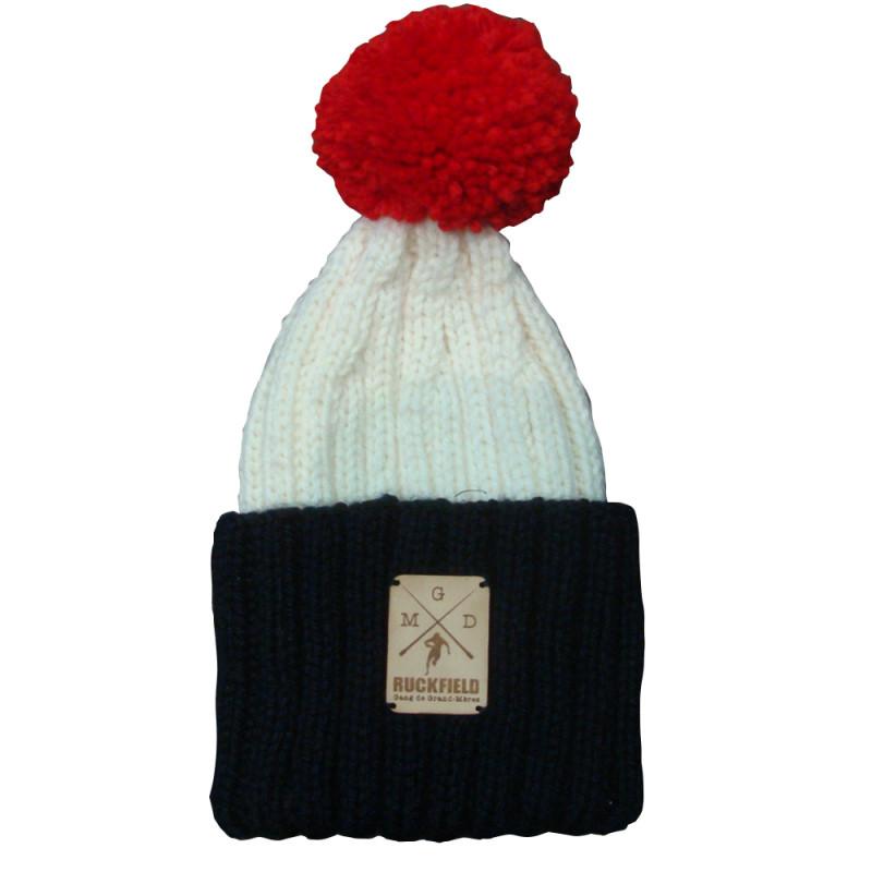 Bonnet a pompon en laine tricolore