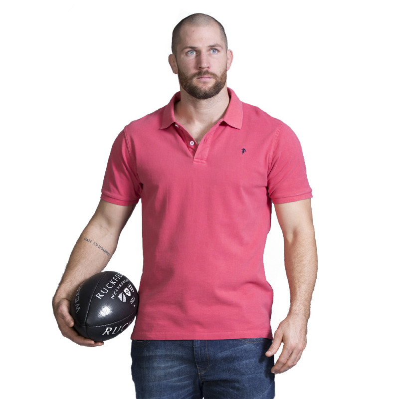 Polo homme rugby rouge