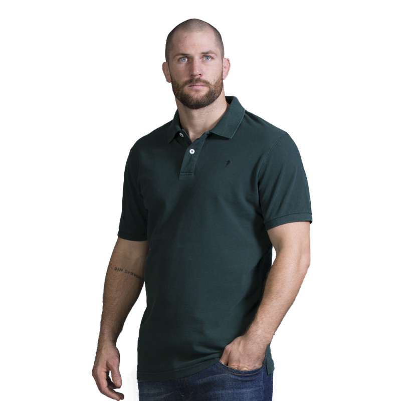Polo homme rugby vert foncé