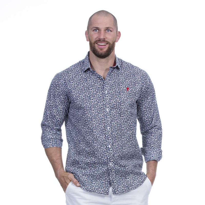 Chemise flowers bleu rugby