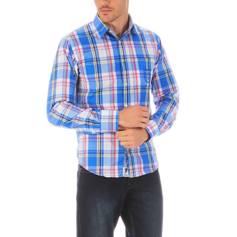Chemise à carreaux bleu