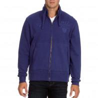 Zip-up blue fleece sweatshirt