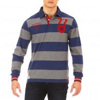 Blue/grey striped French Rugby Club polo shirt