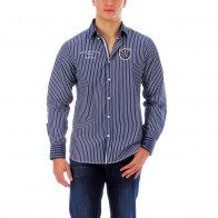 Striped rugby shirt with elbow patches