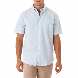 100% cotton, short-sleeve, plain sky blue shirt for men.