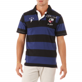 100% cotton, navy blue/black striped, short-sleeve rugby polo shirt for men.