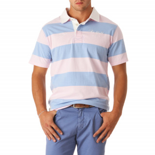 100% cotton pink/sky blue short-sleeve rugby polo shirt.