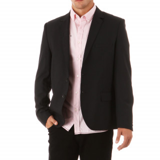 Buttoned black long-sleeve jacket, 50% polyester and 50% wool.