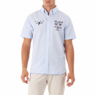 100% cotton blue/white short-sleeve shirt.