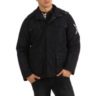 Navy hooded jacket with embroidery and pockets on the front for winter.