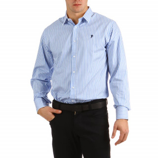 Long-sleeved rugby shirt in 100% cotton with white and blue stripes for men.
