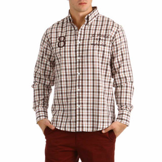 Long sleeve shirt for men with tiles with embroidery on the chest and elbow.