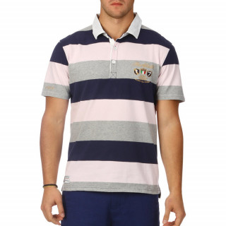 Men's three-colour polo shirt in pink, grey and navy blue.
