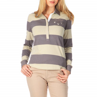 Grey and putty striped polo shirt