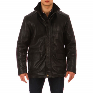 Black Ruckfield lamb's leather jacket in sizes 48 to 58