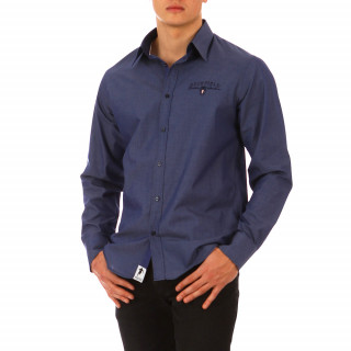 Dark blue long-sleeved shirt 100% cotton